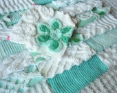 Vintage Chenille Bedspread Squares in Pretty Aqua and White=LOVELY-22-6""