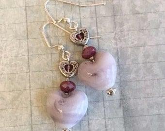 Heart Earrings, Pink, Red