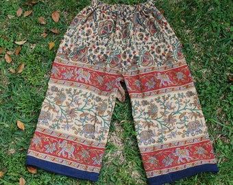 Hippie Kids pants -size 6- Black Red sm. Elephant - Read Measurements