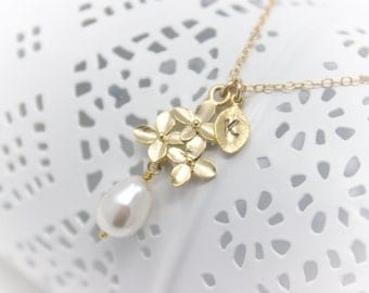 Bridal Jewelry Cherry Blossom Gold Wedding Necklace with Initial