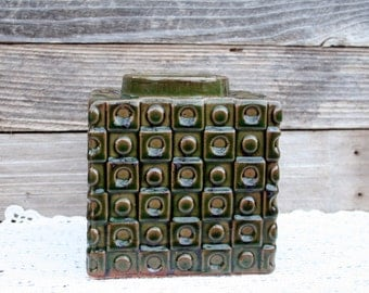 Gorgeous Dark Green Square German Pottery Vase With Metal Insert