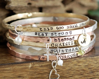 Inspirational Bracelet, Inspirational Quote Bracelets, Bangle Charm Bracelet, Gift for Mom, Custom Bangle Bracelet, Silver Bangle Bracelets