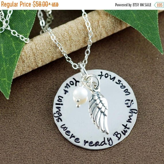 15% OFF SALE Your wings were ready but my heart was not Necklace | Hand Stamped Memorial Necklace | Memorial Keepsake Necklace | In Memory O