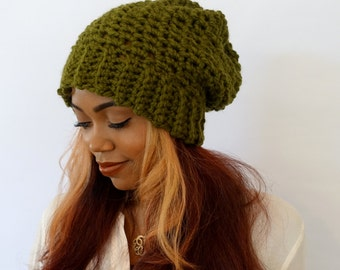 Slouchy Chunky Beanie Downtown Slouchy Cap, Satin Lined Beanie (or plain) - Olive or Choose Your Color