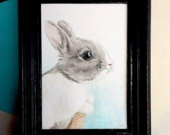 Bunny Painting   Antique Blabk Painted Hardwood Frame   Soft Turquoise Background