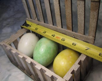 3 Country Decor ALABASTER EGGS In WOOD Crate Box Primitive Decor Easter Rabbit Stone Eggs