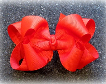 Girls hair bows, Double layer bow, Girls Hairbows, Tomato Red Bow, Large hairbows, big bows, 4 5 inch hairbows, stacked bows, Red hair bow