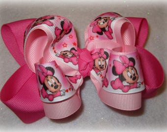 Pink Minnie Mouse Baby Fabulous Double Layered Boutique Lush Hair Bow for Baby Toddler or Little Girl Crawling Minnie