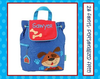 28 Fonts- Toddler PUPPY DOG Personalized Blue Quilted Backpack- Preschool/ Day Care/ Diaper Bag Monogrammed FREE!