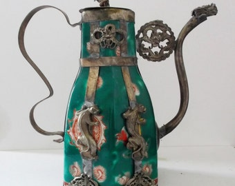 Asian Hand Painted Ornamental Green Armored Porcelain Chinese Teapot Tibetan Miao Silver Monkey Panthers Kirin DRAGONS