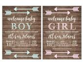 Boy or Girl Baby Sprinkle Shower Tribal Arrow Boho Wood Chalkboard Rustic Party Birthday Invitation - DIGITAL FILE