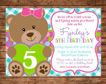 Girl Teddy Bear Build Bear Gingham Polka Dot Birthday Invitation - DIGITAL FILE