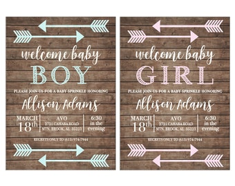 Boy or Girl Baby Sprinkle Shower Tribal Arrow Boho Wood Chalkboard Rustic Party Birthday Invitation - DIGITAL FILE