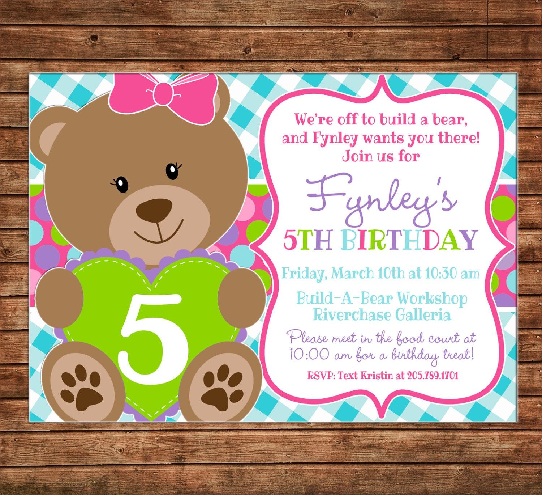 Girl Invitation Bear Teddy Birthday Party Can
