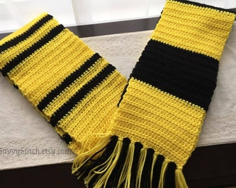 HUFFLEPUFF SCARF Inspired Harry Potter Younger & Upper Years Badger Hogwarts Scarves Costume Cosplay Witch Wizard