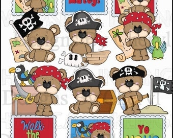 Big Eye Bear Pirate Pals Clipart Collection - Immediate Download