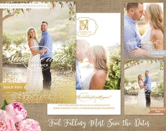 Foil Save the Dates, Falling Mist Foil, Gold Foil, Silver Foil, Rose Gold Foil, Photo Save the Date Card, Free Shipping