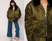Winter Jacket FAUX FUR COLLAR 80s Bomber Olive Army Green Coat Quilted Lining Retro Ski Jacket 70s Hipster Vintage Military extra large xl