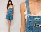 Denim Overall Shorts Jean Shortalls LOONEY TUNES Tweety Bird Romper 90s Grunge Jean Suspender Blue Bib Woman 1990s Vintage Medium