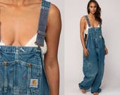 Carhartt Overalls Denim Pants Dungarees Bib GRUNGE Suspender Blue Jean Pants Baggy Workwear Long Vintage Coveralls Work Extra Large xl