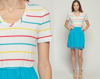70s Mini Dress Mod Stripe 1970s Boho High Waisted Retro Vintage Short Sleeve White Blue 80s Bohemian Turquoise Small Medium