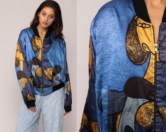 PICASSO Jacket Bomber Jacket Face Print Modern Art 80s Windbreaker Silky Boho Artist Novelty Print Bohemian Vintage Blue Extra Large xl