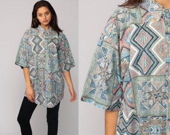Aztec Shirt Tribal Shirt 90s Southwestern Geometric Print Short Sleeve Button Up 1990s Vintage Grunge Southwest Moss Green Large