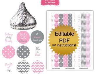 DIY editable printable candy stickers (No.k25) girl baby shower favors Digital File PDF