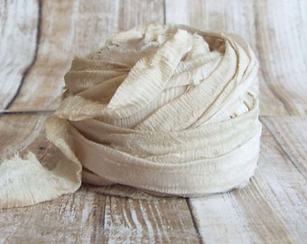 Chiffon Ribbon, Recycled Silk Chiffon Ribbon, Tiebacks, Baby Photography Prop, Wedding Invitations, Bridal Showers, Flower, Taupe