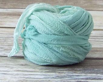 Chiffon Ribbon, Recycled Silk Sari Ribbon, Tiebacks, Baby Photography Prop, Prop Ribbon Yarn, Jewelry Making, Sprig