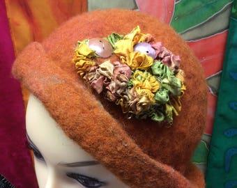 Orange felted wool Hat
