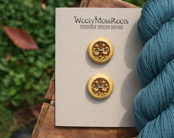2 Wood Bird Buttons- Yellow Wood- Wooden Buttons- Eco Craft Supplies, Eco Knitting Supplies, Eco Sewing Supplies