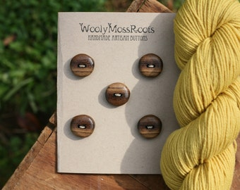 5 Myrtlewood Buttons- Oregon Myrtlewood- Handmade Wooden Buttons- Knitting, Sewing, Craft Buttons