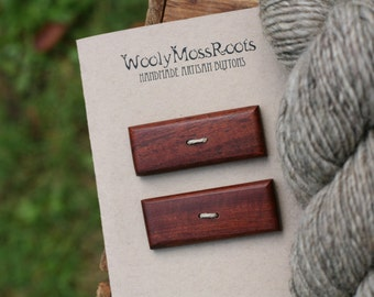 2 Mahogany Toggle Buttons- Mahogany Wood Buttons- Reclaimed Wood- Knitting, Sewing, Craft Buttons