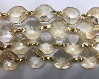 1 Yard (3 ft.) Chandelier Crystals Bead Garland Chain - Golden Shadow -  (S-19)
