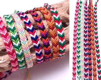Friendship bracelet set - holidays - Christmas - festive - embroidery floss - chevron - arrowhead - narrow - spring- valentine's day