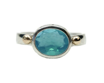 Blue Opal Horizontal Ring in Sterling Silver, custom sized art deco ring