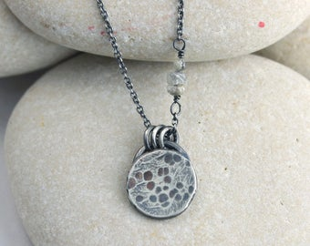 Harvest Moon Necklace in Silver with Diamond Stars, textured and hammered moon necklace