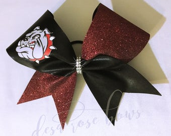 Maroon and Black Bulldogs Bow~ Sports bow, Cheer Bow, Softball bow