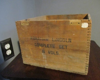 Abraham Lincoln 6 Vols Wood Crate   Rustic ~ Wood 1950's Advertising Crate - Book Crate