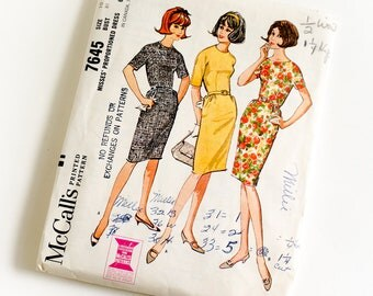 Vintage 1960s Womens Size 10 Proportioned One Piece Slim Dress McCalls Sewing Pattern 7645 Complete / bust 31 waist 24