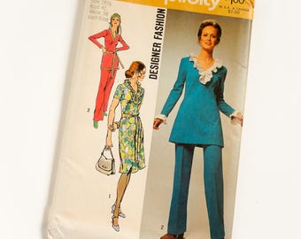 Vintage 1970s Womens Size 18.5 Dress or Tunic and Pants Simplicity Sewing Pattern 9518 FACTORY Folds / bust 41 waist 34