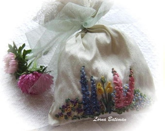 Silk Ribbon Embroidery - Spring Garden of Flowers - Pot-Pourri bag - Full kit