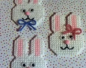 3 Handmade Easter Bunny Magnets Plastic Canvas