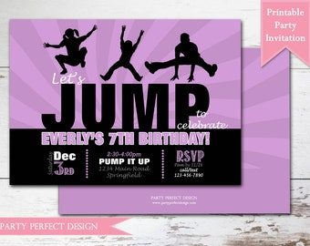 Jump Birthday Party Invitation, Trampoline Park Birthday Invitation, Bounce House Birthday Party Invitation, Printable . Print Your Own