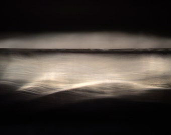 Night seascape art, minimalist seascape, evocative photo, abstract wall art, dramatic seascape, ocean photo, ready to hang canvas, photo