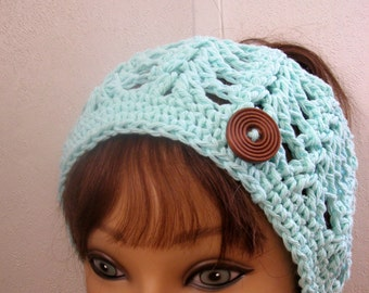 Messy Bun Hat, Summer Crochet, PonyTail Hat, MINT Bun Hat,Beach Hat, Crochet Hemp Cotton Messy Bun Hat,California Hat, Knit and Crochet