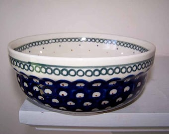 Boleslawiec Pottery, Cereal Bowl, Polish Pottery, Blue Green Red, Hand Stamped, Circles and Dots, 6 inch Bowl, Vintage, Polka Dots