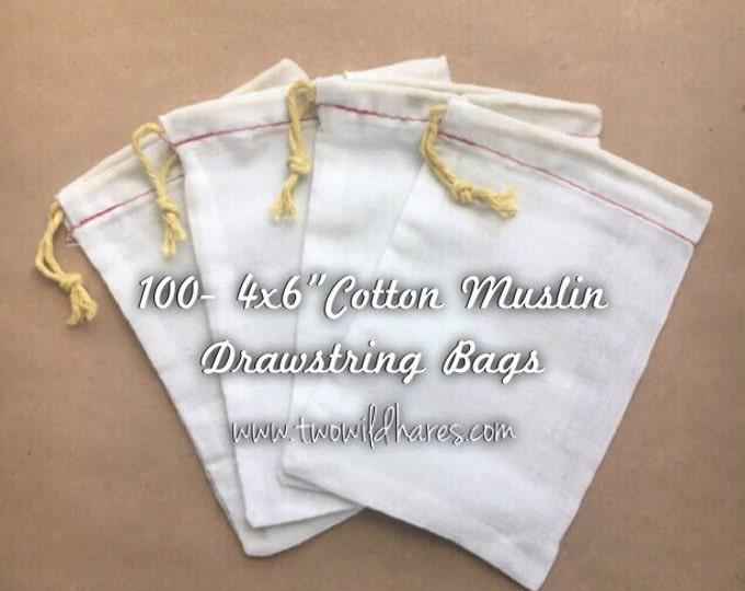"100- 4""x6"" Muslin Drawstring Bags"