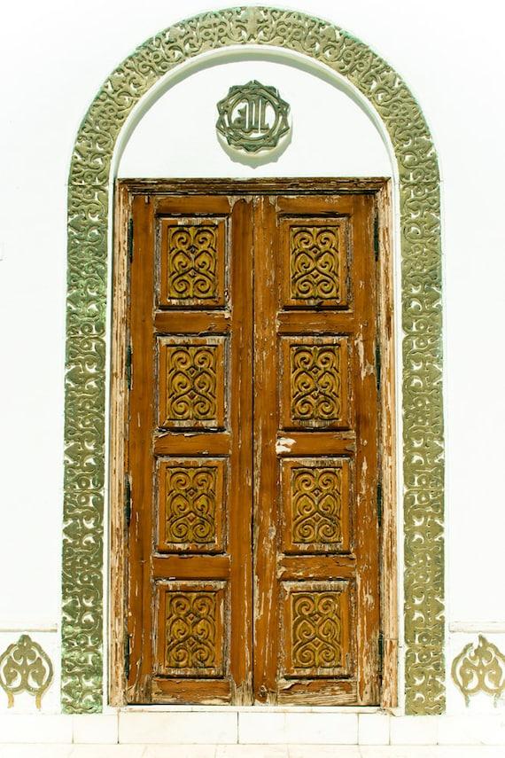 Photograph Egyptian Carved Mustard Exterior Wood Door Green Border inside Historic Islamic Shrine Religious Spiritual Art Print Home Decor